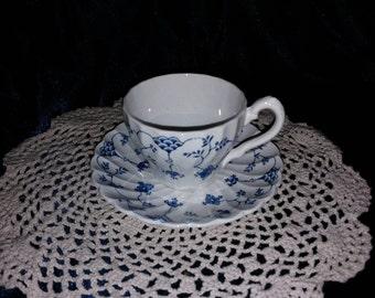 Staffordshire England Finlandia Myott Tea Cup & Saucer Free Ship