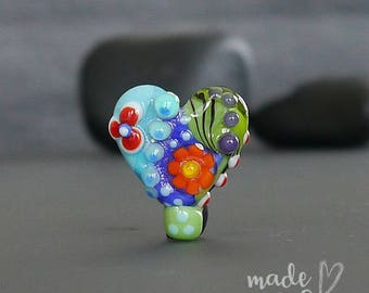 Handmade lampwork bead focal   |  Small Heart  |  SRA  |  artisan glass |  Silke Buechler