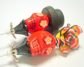 """Red, Black, and Yellow Rose Day of the Dead 6"""" Stick Pins Scarf Pins or Cake Toppers"""