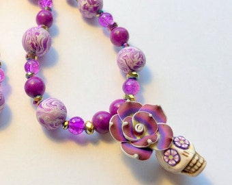 Sugar Skull Necklace Day of the Dead Beaded Purples