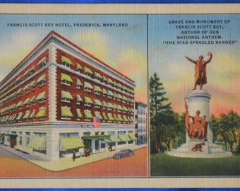 Francis Scott Key Hotel Grave Monument Frederick Maryland MD Linen Postcard