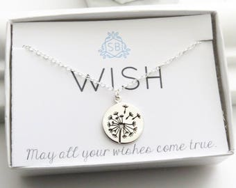 Friendship Necklace • Dandelion Charm • Wish Necklace • Graduation Gift • Make A Wish • Dandelion Pendant • Silver Dandelion • W01