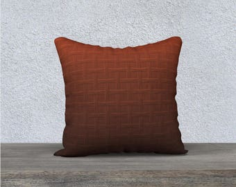 Big Chunky Brown Ombre Basket Weave Print Velveteen Throw Pillow Cover