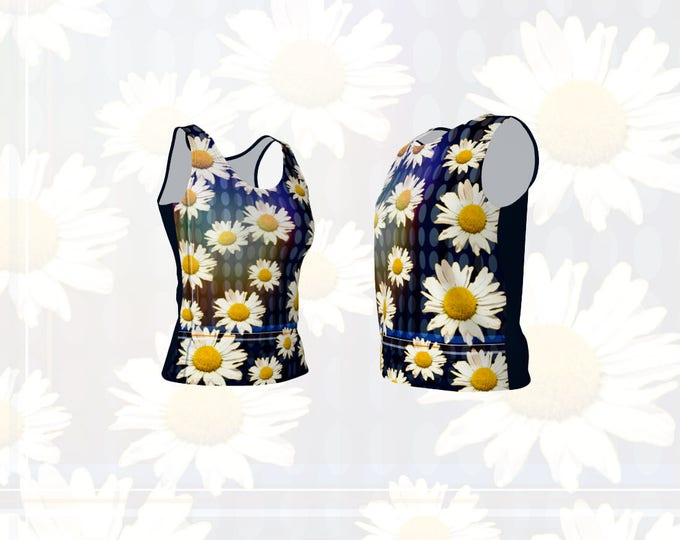 Women's Fitted or Loose Tank Top Daisy Flowers and Oval Geometric Graphic Print
