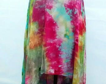 Pink Turquoise Gold Asymmetrical Tunic Dress Ice Dyed in Monet colorway size XL