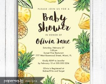 Pineapple Tropical Baby Shower Invitation, Luau Invitation, Aloha invitation, Personalized Tropical invitation, Digital File,  Item 194A