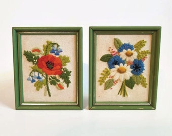 Pair of Two Vintage Framed Floral Crewel Embroideries