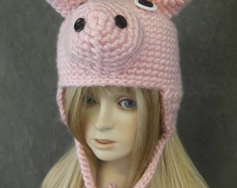 Accessory,Pink Pig Hat,Children,Toddlers, Girls,Animals,Farm,Winter,Earflap hat,Costume,Halloween,photography prop