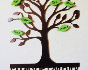 Family Tree Wall Art with Personalized Glass Leaves