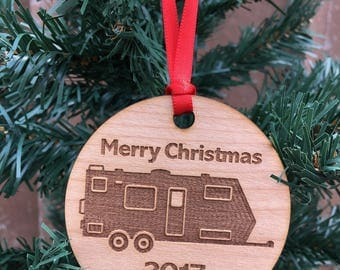 2017 Travel Trailer Christmas Ornament, RV Camper, Caravan, RV Ornament, Camping Trailer Ornament, Christmas Glamper, Personalized Ornament
