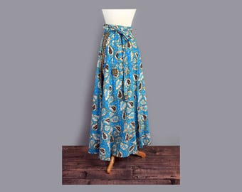 1970's Blue Bohemian India Floral Print Maxi Wrap Skirt