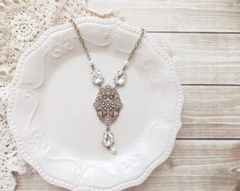 Shabby Brocante Art Deco Inspired Rhinestone and Pearl Assemblage Pendant Statement Necklace