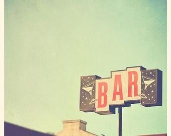 bar photography, LA nightlife cocktails, bar sign Los Angeles retro, mid-century, martini glass blue green red, restaurant, loft decor