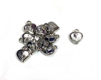 set of 9 pieces heart with tulip charm, 14mm x 16mm, silver acrylic - C111