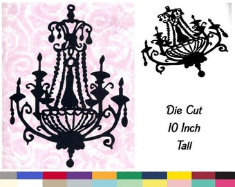Chandelier Die Cut Backdrop Intricate Vintage Style Girly Glam Birthday Party Halloween Wall Home Room Decor 10 Inch Tall 20 Colors