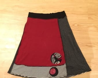 Comfy Striped T-shirt Skirt Size XS Recycled Clothing Stretchy Waistband  Black Gray Red