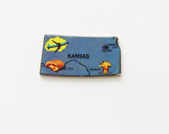 1961 Kansas Brooch - Pin / Unique Wearable History Gift Idea / Upcycled Vintage Wood Jewelry / Timeless Gift Under 25