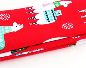 Christmas Llamas Cotton Napkins / Set of 4 / Eco-Friendly Gift Under 50 / Red, White, Green, Aqua, Pink