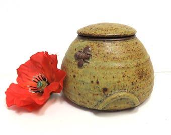 Stoneware Beehive Lidded Jar/ Vintage Wheel Thrown Art Studio Pottery