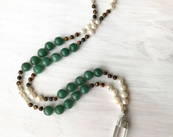 hand knotted necklace, crystal quartz point necklace, faceted aventurine necklace, knotted pearls, tiger's eye, bohemian necklace, boho