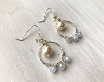 silver hoops, hammered hoops, beaded hoops, blue and white, wire wrapped hoops, pearl hoops, bridal jewelry, a little something blue