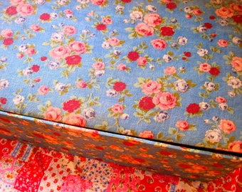 Fabric Covered Box, Vintage Fabric, French Florals, Boudoir Chic, Storage Box, Notions Box, Work Box, Shabby Chic, Trinket Box, Large Box