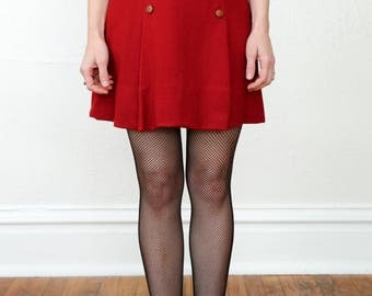 SALE 1960s Wool Mini Skirt in Red
