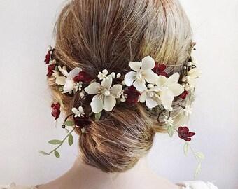 burgundy hair accessories, burgundy hair flower, wedding hair piece, cream flower, floral hair vine, bridal headpiece, wedding hair clip