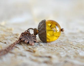 Baltic Amber and Copper Acorn Necklace   Cute Nature Acorn Charm Necklace   Gemstone Amber Acorn Necklace   Woodland Acorn   Nature Jewelry