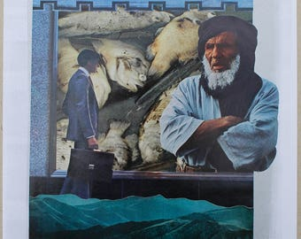 Original Analog Collage with Fish, Man, Turban, Mountains, Storefront