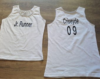 Custom Girls Shirt with Name. Jersey. Girls Clothing. Girls Tops. Girls Tank Tops. Baby Clothes. Gifts for Kids. Kids Clothing. Jr.Runner