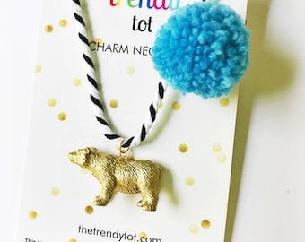 Kids Necklace. Bear Necklace. Kids Jewelry. Gift for Kid. Kids Stocking Stuffer. Animal Necklace. Pompom Necklace. Unique Kids Gift. Under20