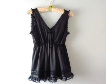 Vintage Black Nylon Babydoll Top S | 1970s Boudoir Babydoll Nightie