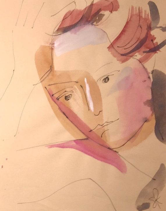 Goddess portrait- original watercolor portrait painting by Gretchen Kelly
