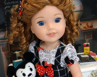 Maddie - Mickey Mouse Fan - custom Wellie Wisher American Girl doll with wardrobe & accessories