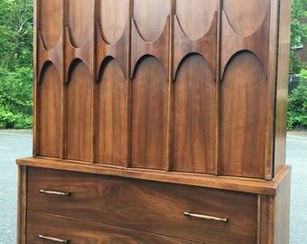 SOLD Mid Century Modern Walnut Broyhill Brasilia Dresser Gentlemen's Chest - Kent Coffey Style - Mid Century Dresser -Free Delivery