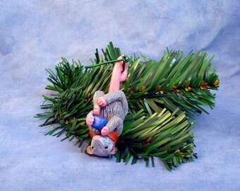 Xmas Opossum and Gift Ornament - Handmade Christmas Decoration