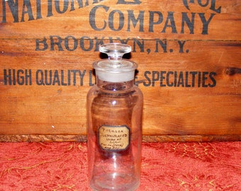 Antique Chemist or Apothecary Bottle Jar with Ground Glass Stopper W T & Co Whitall Tatum Company