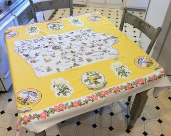 Vintage Souvenir Tablecloth Iowa Fishing & Fun