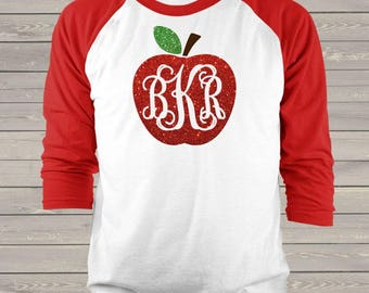 Apple monogram glitter sparkly monogrammed apple personalized unisex ADULT raglan shirt  - great back to school shirt MSCL-043v