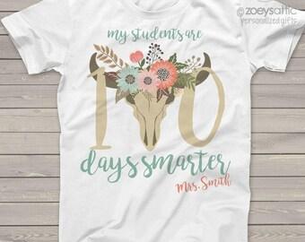 Teacher shirt - 100 Days smarter cow head one hundred day crew neck or vneck shirt   mscl-110