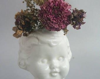 White Baby Doll Head Vase, ceramic doll head vase