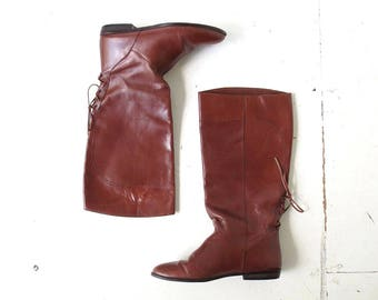 Vintage Brown Leather Riding Boots Size 8.5