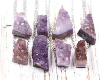 Raw Crystal Necklace Raw Amethyst Necklace Amethyst Pendant Amethyst Geode Amethyst Crystal Cluster Necklace Healing Crystals and Stones