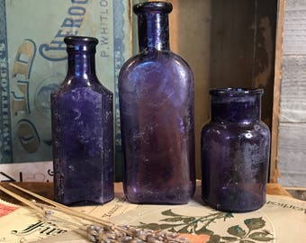 Antique PURPLE BOTTLES- Vintage Lot of Small Bottles- Early 1900's Bottle with Measurements- D82