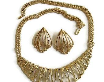 SALE Open Work Bib Necklace & Earrings Set Vintage Gold Tone