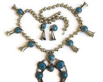 SALE Large Faux Turquoise Squash Blossom Necklace & Earrings Set Vintage Statement