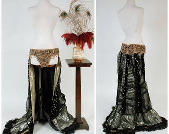Vintage 1960s Burlesque Costume - RARE Mme. Berthé Burlesque Peeler Panty Skirt with Sequins and Beadwork, Silver Eyelash Lamé under Chiffon