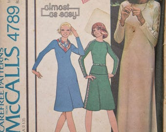 1970's McCall's 4789 Vintage Sewing Pattern Stretch Knit Dress Raglan Sleeve Top Lace Insertion Skirt Scarf UNCUT FF Size 12 Bust 34""
