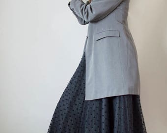 Vintage 1990s grey longline pinstripe grey blazer UK12